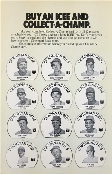 "1975-76 Cincinnati Reds Buy An Icee Collect A Champ 7.5"" x 11.5"" Promotional Sheet"