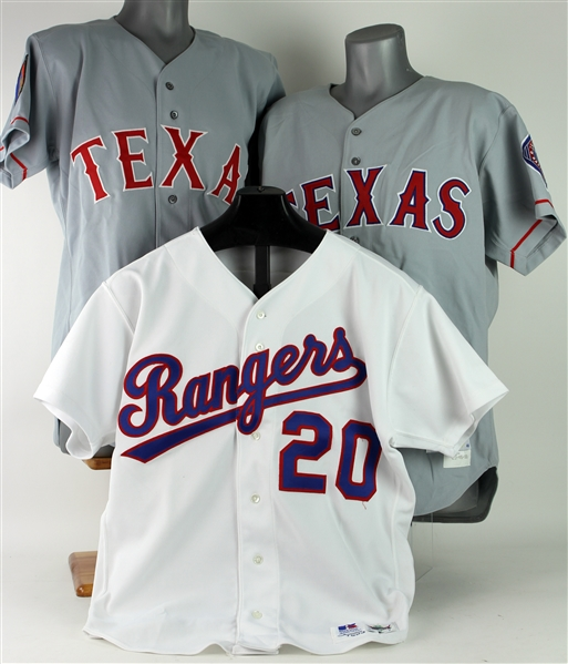 1993-96 Benji Gil James Hurst Keith Miller Texas Rangers Game Worn Jersey Collection - Lot of 3 w/ 1 Signed (MEARS LOA/JSA)