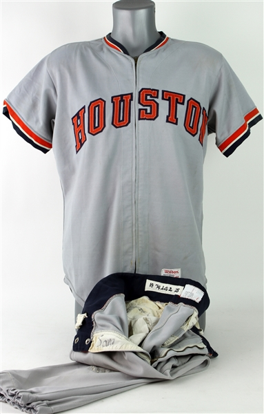 1972-73 Jerry Moxey Houston Astros Spring Training/Organizational Road Uniform w/ Pants (MEARS LOA)