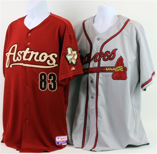 2008-12 Leon Roberts Braves/Astros Coaching Jerseys - Lot of 2 (MEARS LOA)