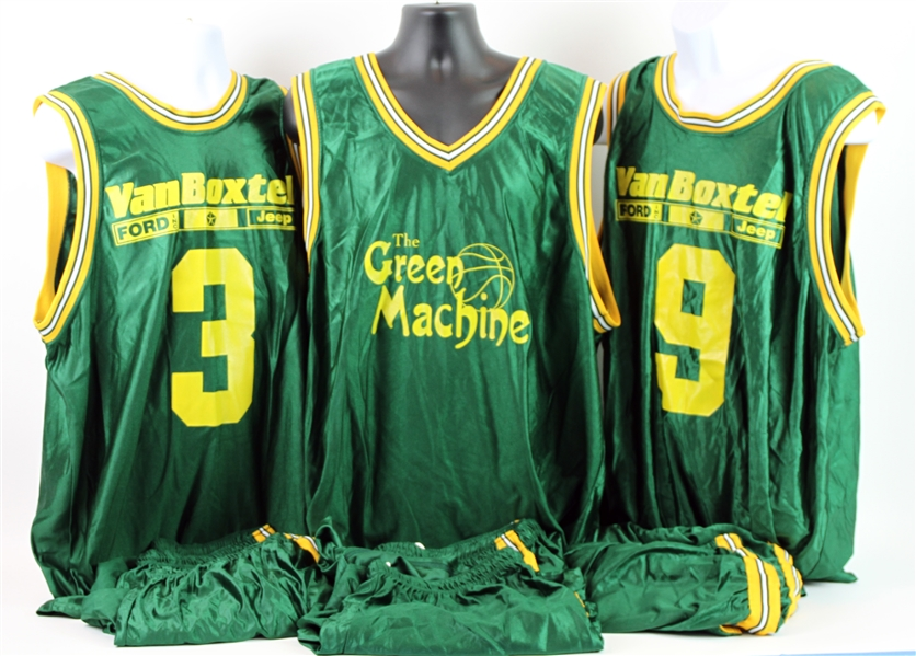 2005-08 Green Bay Packers The Green Machine Basketball Uniforms - Lot of 3 Jerseys & 6 Shorts (MEARS LOA)