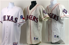 1996-2016 Texas Rangers Game Worn Home Jerseys - Lot of 3 w/ Darryl Hamilton, Benji Gil Signed & Derek Holland Signed (MEARS LOA/JSA)