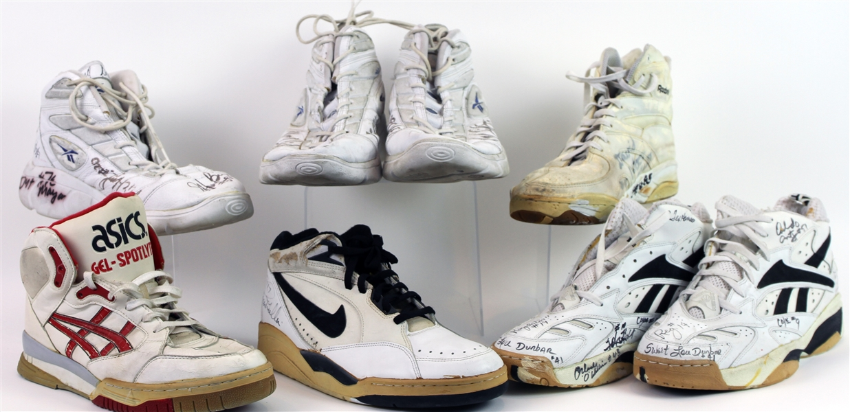 1980s-2000s Game Worn Signed Basketball Sneakers - Lot of 8 w/ Chris Mullin, Cliff Levingston, David Wood & More (MEARS LOA)