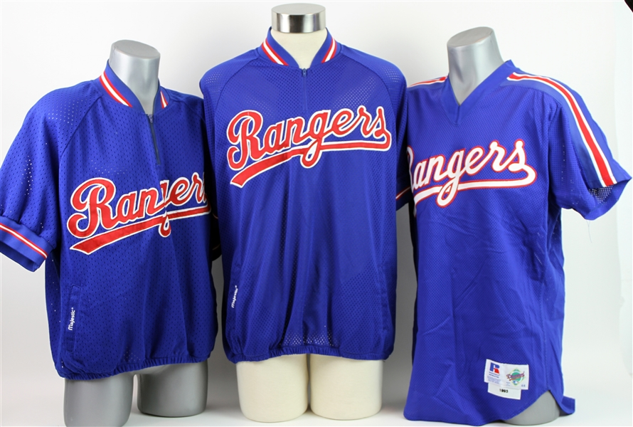 1990s Texas Rangers Batting Practice Jerseys - Lot of 3 w/ Jose Canseco, Kevin Brown & More (MEARS LOA)