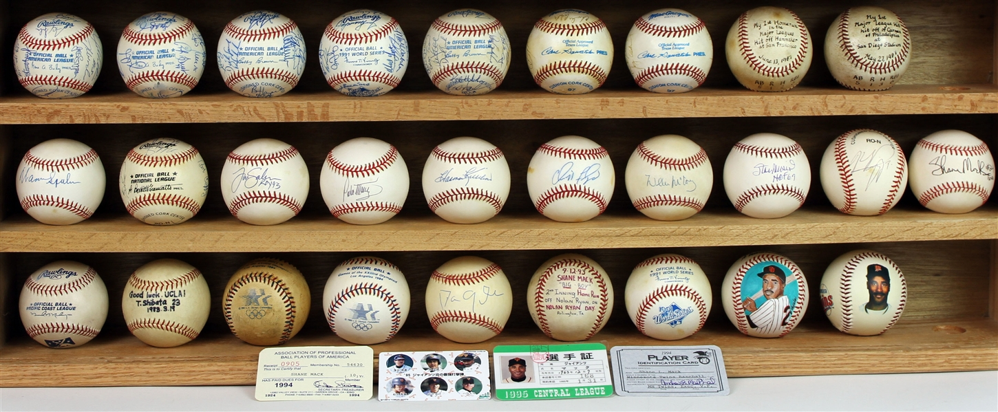 1980s-90s Shane Mack Career Signed/Game Used Baseball Collection - Lot of 28 w/ First Career Hit/HR, Single Signed, Team Signed, Olympic, Japan, Minor Leagues & More (MEARS LOA)