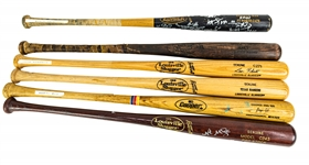 1983-2005 Professional Model Game Used Bat Collection - Lot of 6 w/ Leon Roberts, Benji Gil, Nate McLouth Signed & More (MEARS LOA)
