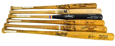 1986-2007 Professional Model Game Used Bat Collection - Lot of 6 w/ Geno Petralli, Butch Hobson Signed, Ruben Sierra Signed & More (MEARS LOA)