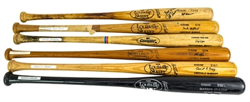 1977-96 Professional Model Game Used Bat Collection - Lot of 6 w/ Cecil Espy, Greg Gagne, Marquis Grissom Signed & More (MEARS LOA)