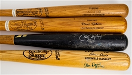 1973-2014 Professional Model Game Used Bat Collection - Lot of 4 w/ Davey Nelson, Frank Luchessi Fungo, Alvin Davis Signed & More (MEARS LOA)