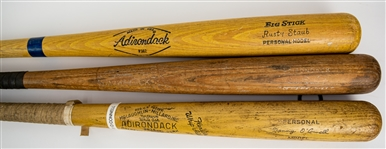 1950s-70s Adirondack Bat Collection - Lot of 3 w/ Rusty Staub Professional Model, Al Dark Professional Model & Danny OConnell Store Model (MEARS LOA)