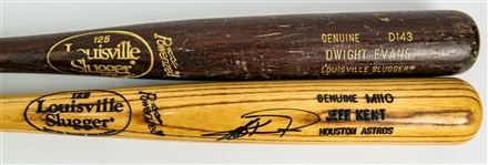 1986-2004 Professional Model Game Used Bat Collection - Lot of 2 w/ Jeff Kent Signed & Dwight Evans (MEARS LOA/JSA)