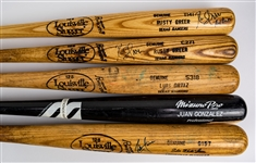 1986-2003 Professional Model Game Used Bat Collection - Lot of 5 w/ Ruben Sierra Signed, Juan Gonzalez, Rusty Greer Signed & More (MEARS LOA/JSA)
