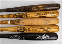 1985-2010 Professional Model Game Used Bat Collection - Lot of 5 w/ Toby Harrah, Gary Pettis Signed, Jay Bruce Signed & More (MEARS LOA/JSA)