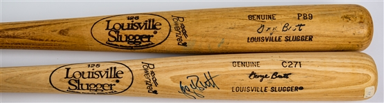 1983-89 George Brett Kansas City Royals Louisville Slugger Professional Model Bat Collection - Lot of 2 w/ 1 Signed (MEARS LOA/JSA)