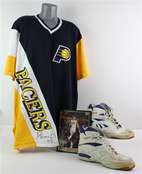 1990s Rik Smits Indiana Pacers Signed Game Worn Sneakers & Shooting Shirt (MEARS LOA/JSA)