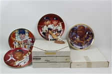 1985-90 Commemorative Plate Collection - Lot of 8 w/ Hank Aaron Signed Proof, Eddie Mathews Signed, Kareem Abdul Jabbar Signed & More (JSA)