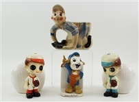 1950s Ceramic Baseball Planter Collection - Lot of 4 w/ Oswald the Rabbit, Nodders & More