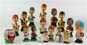 1950s-90s Baseball Vintage Nodder Coin Bank Collection - Lot of 16 w/ Bombers Home Run Bank, A No Hitter & More