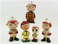 1950s Vintage Japanese Baseball Nodder Collection - Lot of 5 w/ Umpire, Motion Hologram Eyes & More