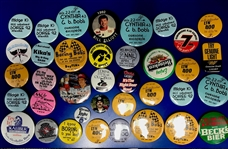 1980s-90s Americana Pinback Button Collection - Lot of 35+ w/ Beer, Racing, Parties & More
