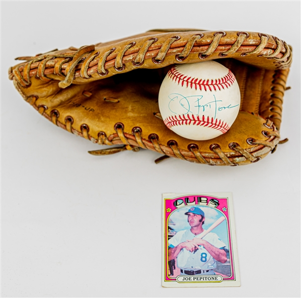 1960s-80s Joe Pepitone New York Yankees Store Model Hollander First Base Mitt & Signed OAL Brown Baseball (JSA)