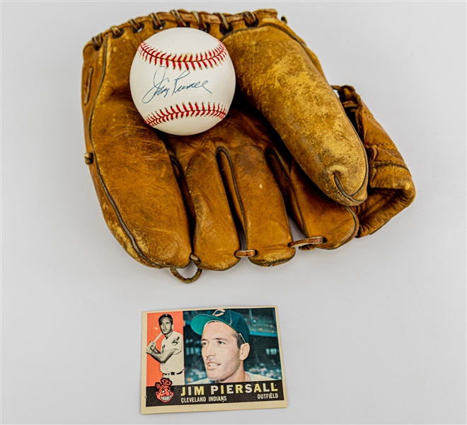 1950s-90s Jim Piersall Boston Red Sox Store Model Franklin Mitt & Signed ONL Coleman Baseball (JSA)