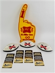 1980s-2000s Sports Memorabilia Collection - Lot of 8 w/ Miller High Life Warriors #1 Foam Finger, XFL Souvenir Mini Footballs & More