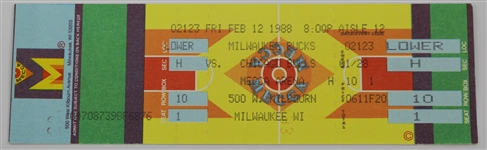 1988 Michael Jordan Chicago Bulls vs Milwaukee Bucks Un-Used Gamed Ticket