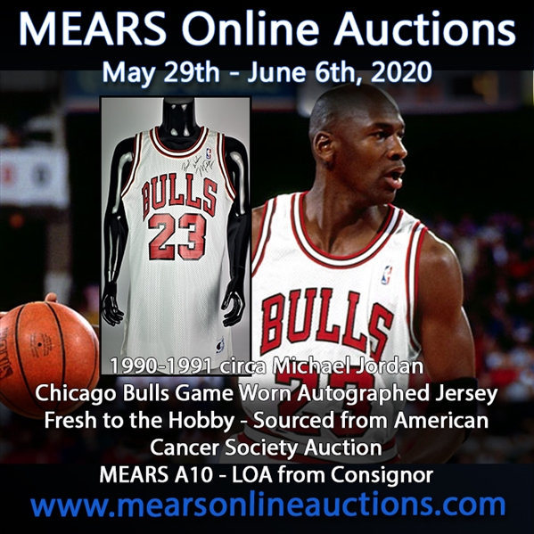 "1990-1991 Michael Jordan Chicago Bulls Autographed Game Worn Home Jersey (MEARS A10/JSA/Consignor LOA) ""2nd MVP Season, American Heart Society Auction"