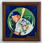 "1983 Mickey Mantle New York Yankees Signed 14.5"" x 14.5"" Framed Collectors Plate (JSA) 2010/11000"