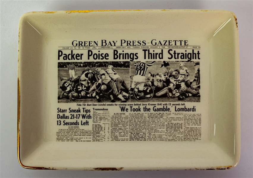 "1968 Green Bay Packers Poise Brings Third Straight Green Bay Press Gazette 5.25"" x 7.25"" Ice Bowl Ceramic Dish"