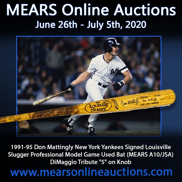 "1991-95 Don Mattingly New York Yankees Signed Louisville Slugger Professional Model Game Used Bat (MEARS A10/JSA) DiMaggio Tribute ""5"" on Knob"