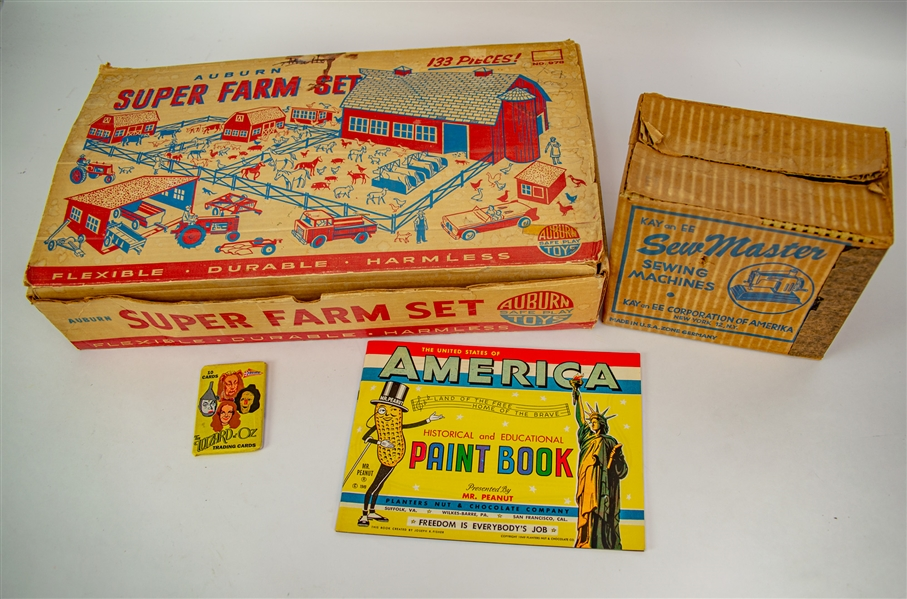 1940s-90s American Vintage Toy Collection - Lot of 4 w/ Sew Master Sewing Machine in Original Box, Auburn Super Farm Set in Original Box & More