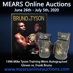 "1996 Mike Tyson World Heavyweight Champion Signed Training Worn Boxing Gloves - Pair of 2 (MEARS LOA ""Worn To Train for Bruno 2)"