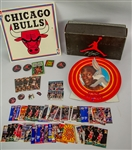 1980s-90s Michael Jordan Chicago Bulls Memorabilia Collection - Lot of 50+ w/ Hare Jordan Looney Tunes Display, Trading Cards, Jumpman Pinback Buttons, Schedules & More