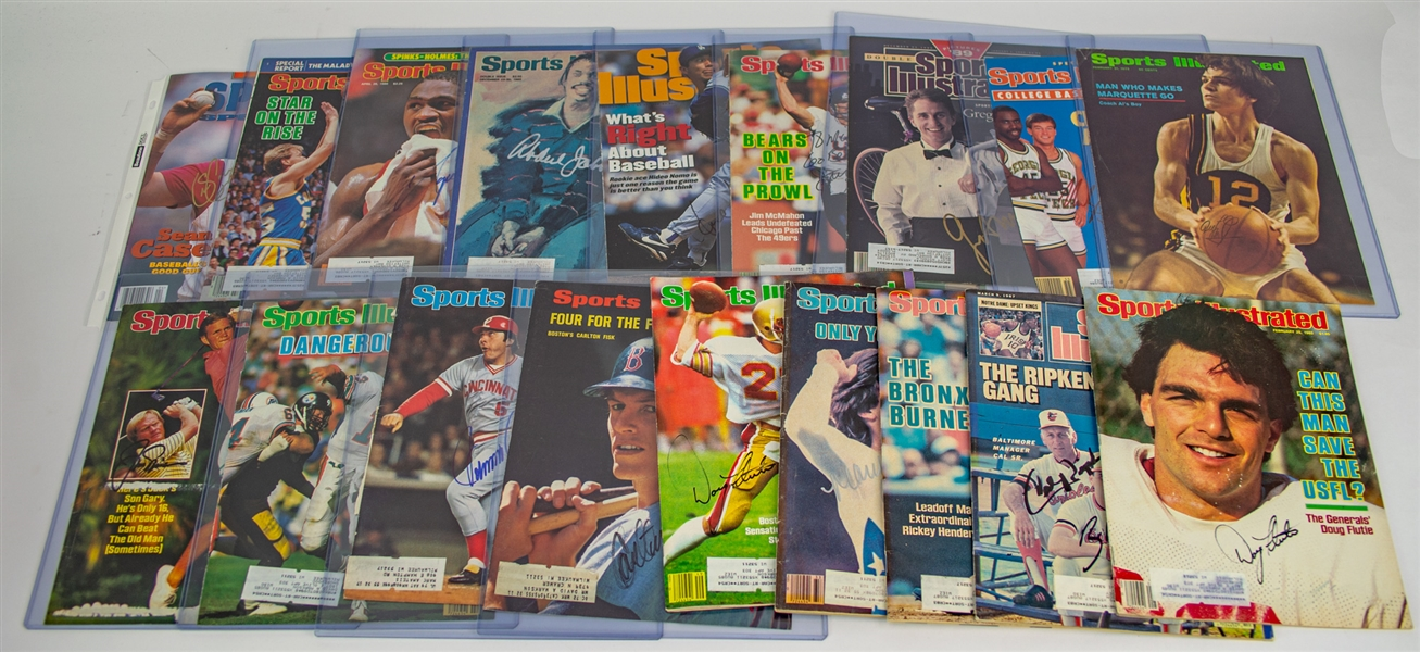 1970s-2000s Signed Sports Illustrated Magazines & Covers - Lot of 50 w/ Jim Brown, Dan Marino, Frank Robinson, Isiah Thomas & More