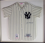 "1998 Joe DiMaggio New York Yankees Signed 39"" x 40"" Framed Mitchell & Ness Jersey (JSA) 25/56"