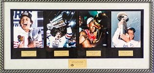"1990s Michael Jordan Wayne Gretzky Joe Montana Troy Aikman Signed 20"" x 42"" Framed First Championship Photo Display (Upper Deck Authentication)"