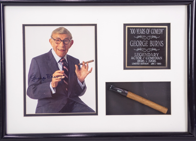 "1996 George Burns Actor/Comedian 15"" x 21"" Display w/ Cigar & Signed Photo (JSA)"