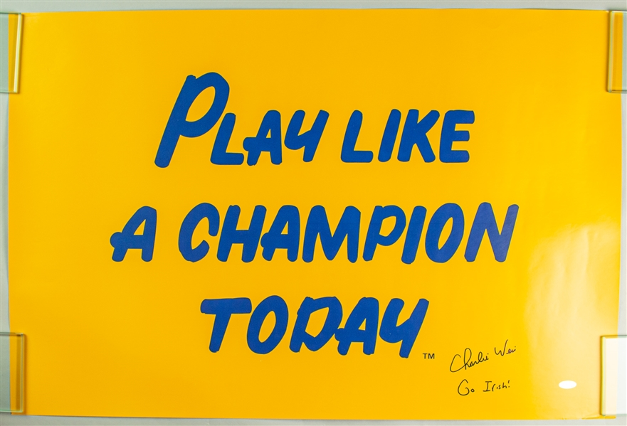 "2005-09 Charlie Weis Notre Dame Fighting Irish Signed 20"" x 32"" Play Like A Champion Poster (Steiner/JSA)"