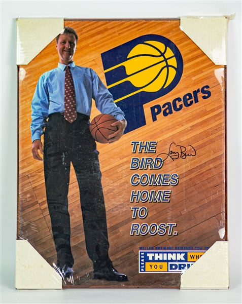 "1997 Larry Bird Indiana Pacers Signed 17"" x 22"" Mounted Poster (JSA)"
