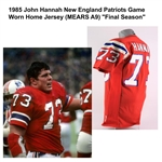"1985 John Hannah New England Patriots Game Worn Home Jersey (MEARS A9) ""Final Season"""