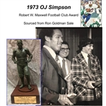 1973 OJ Simpson Buffalo Bills Robert W. Maxwell Award Trophy (MEARS LOA)