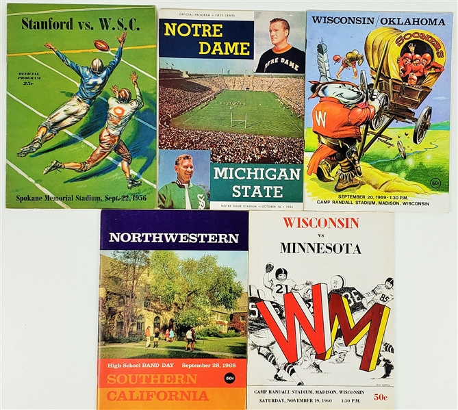1954-1969 Wisconsin Badgers, Michigan State & more Official Programs (Lot of 5)