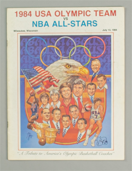 1984 Michael Jordan NBA All-Stars vs USA Olympic Team Milwaukee, WI Program