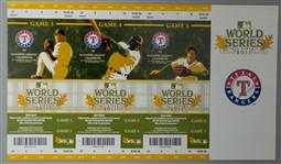 2011 Texas Rangers Ballpark in Arlington Unused World Series Games 3,4,5 Ticket Strips - Lot of 10