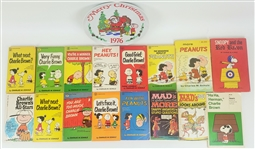 1960s-1970s Charlie Brown Charles M. Schulz Books & Dennis the Menace Plate (Lot of 17)
