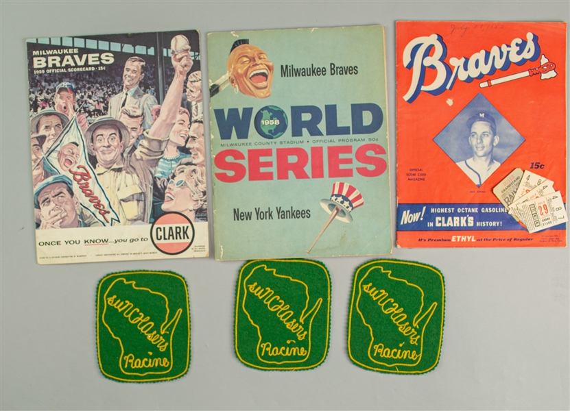 1953-59 Milwaukee Braves County Stadium Game Programs & Ticket Stubs - Lot of 6 w/ 1953 Inaugural Season, 1958 World Series & 1959 Harvey Haddix Near Perfect Game  + (3) Racine Sunchasers Felt Patches