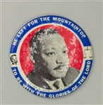 "1968 Dr. Martin Luther King 6"" He Left For The Mountaintop To Be With The Glories Of The Lord Pinback Button"