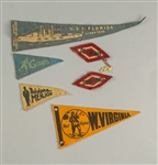 1920s-30s Mini Pennant & Patch Collection - Lot of 6 w/ New York Giants, USS Florida, Adolphe Menjou & More